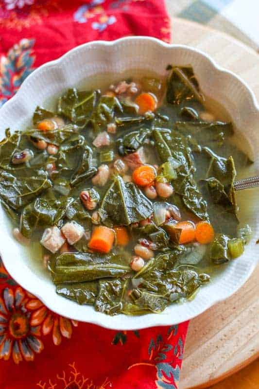 blackeyed pea & collard green soup in bowl