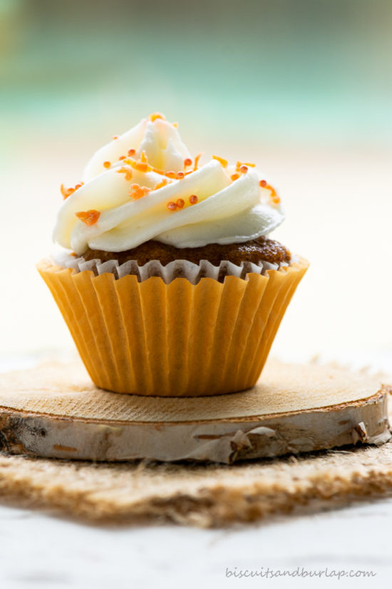 one mini carrot cake cupcake on coaster