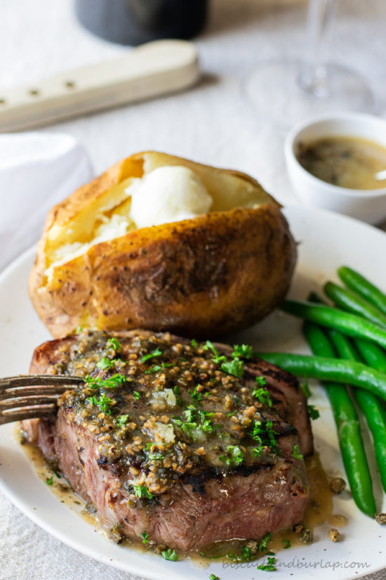 butter sauce for filet mignon over steak with potato