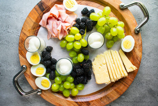 yogurt and eggs added to breakfast board