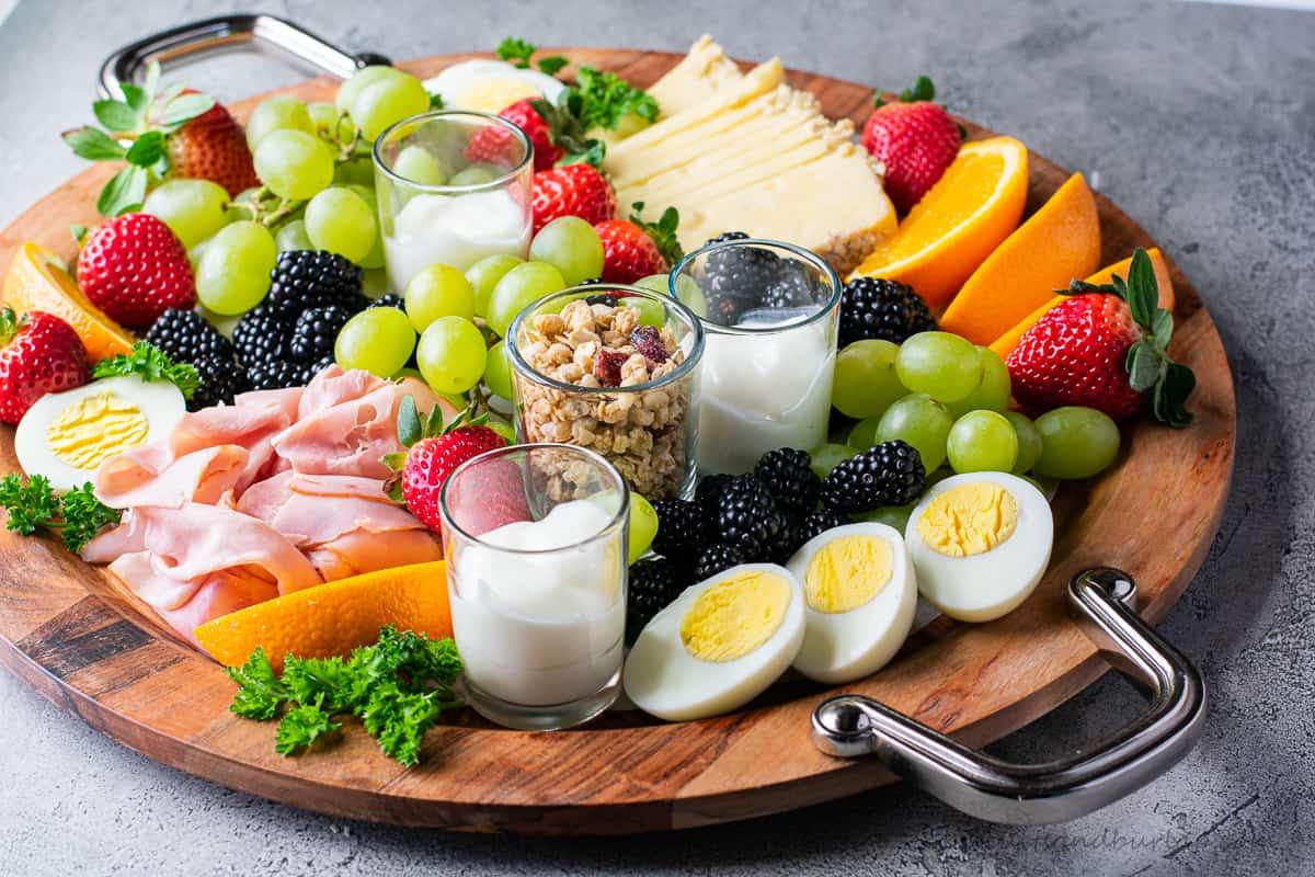 Healthy Breakfast Grazing Board Biscuits Burlap