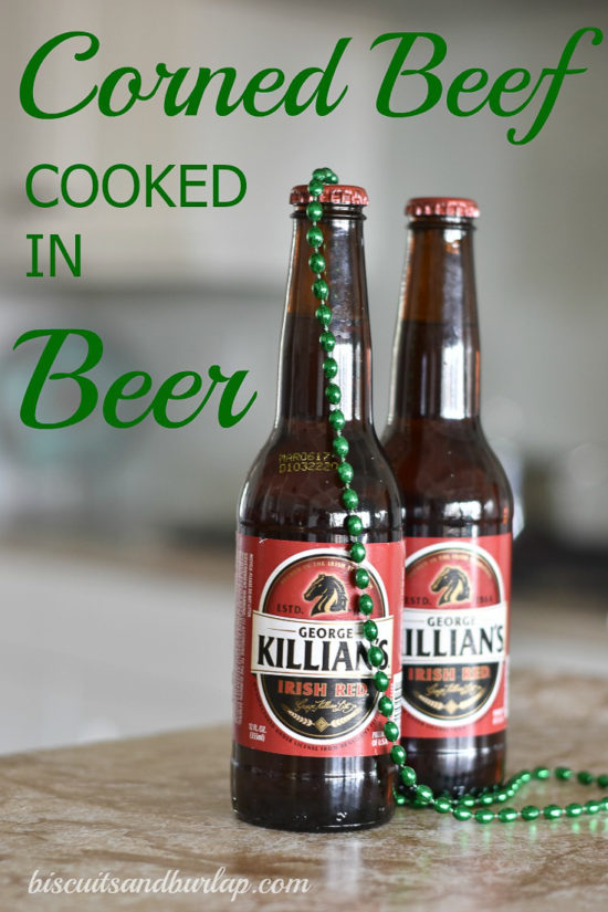 2 bottles of beer with green beads and text