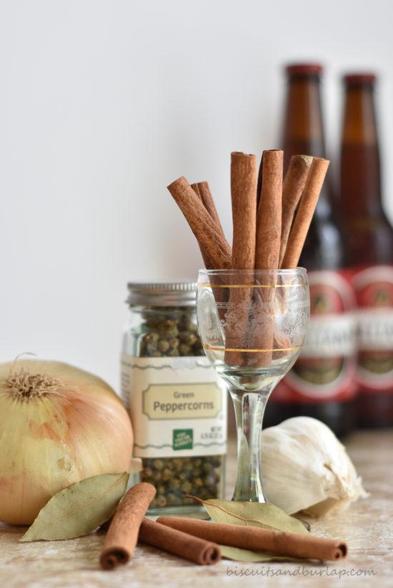 cinnamon sticks, onion, peppercorns, garlic & beer