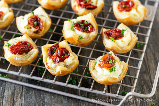 goat cheese appetizers on rack