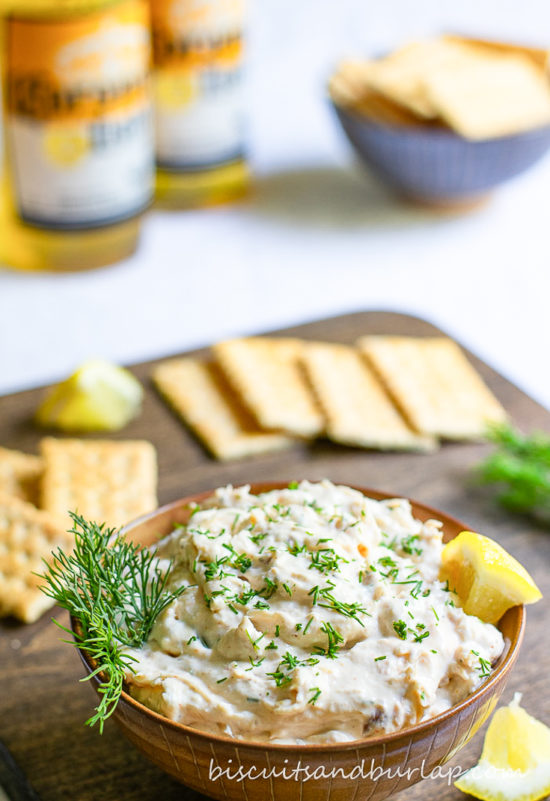 vertical shot of bowl of fish dip