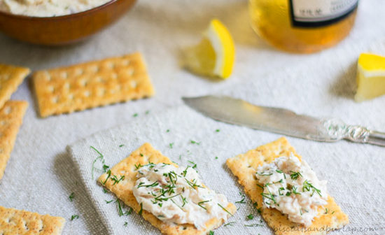 crackers with smoked fish dip spread