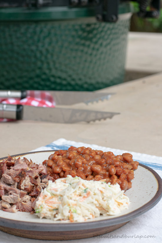 plate with bbq, slaw & baked beans