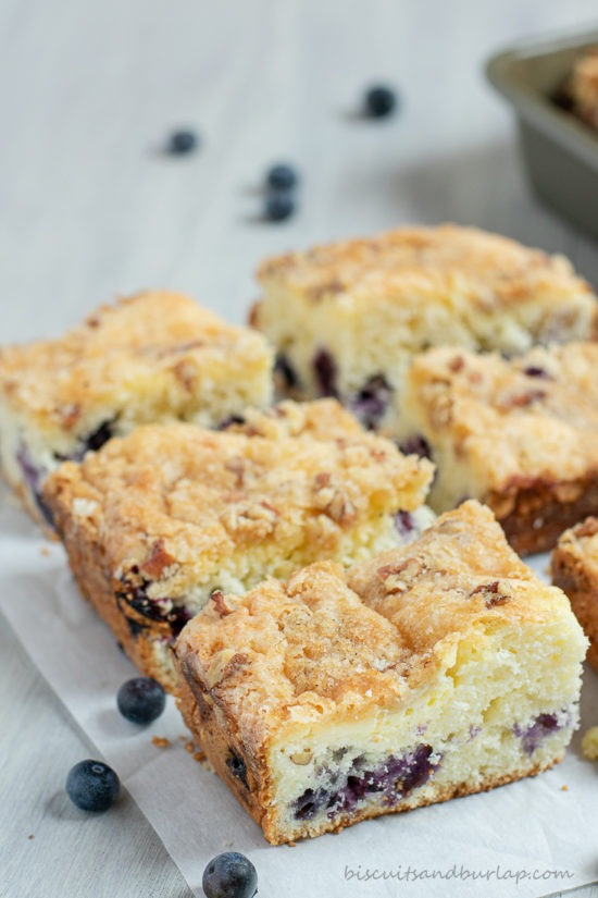 blueberry crumb cake cut into squares
