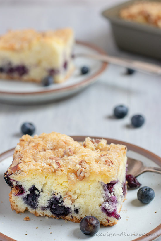 piece of blueberry crumb cake on plate