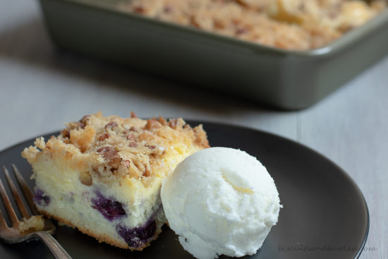 blueberry crumb cake and ice cream