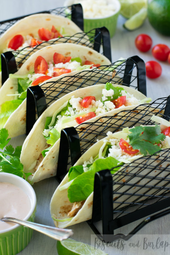tacos with sauce and tomatoes