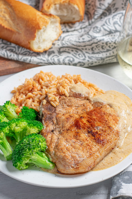pork chops, broccoli & rice