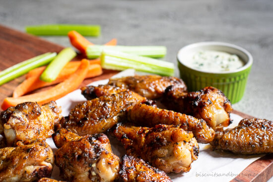 wet sauced grilled chicken wings