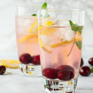 two glasses of cherry infused water