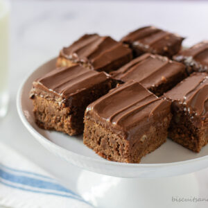 brownies on white stand