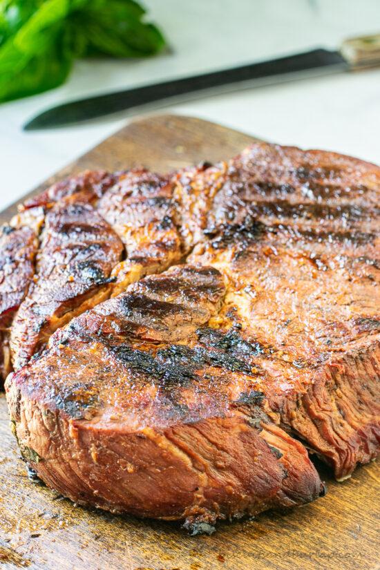 grilled chuck roast on board