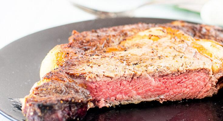 reverse sear steak on plate