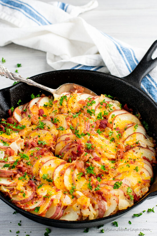 skillet potatoes with cheese & bacon