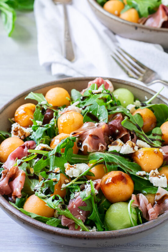melon and prosciutto salad with balsamic drizzle