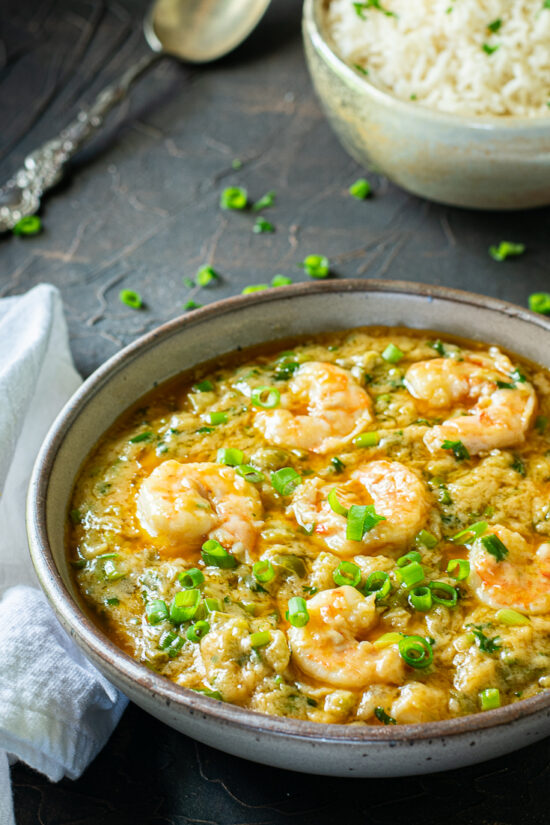 easy shrimp etouffee in bowl with rice