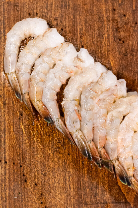 raw shrimp in a line
