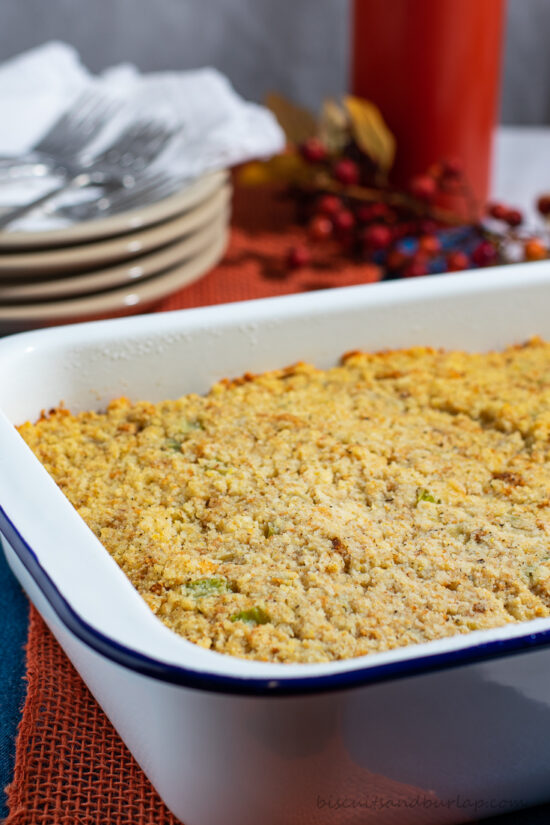 cornbread dressing in pan