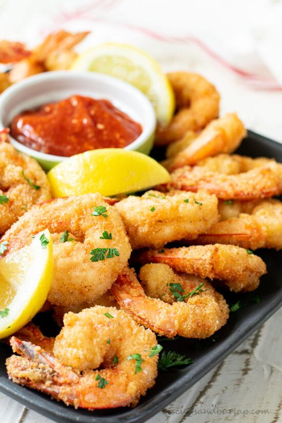easy fried shrimp on plate with lemon