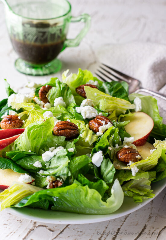 fall green salad on white plate