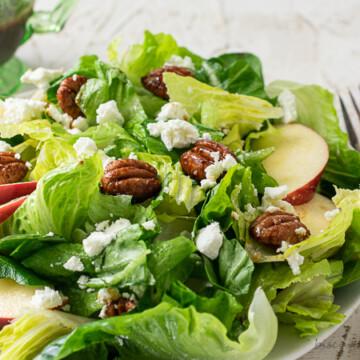 fall green salad with apple cider vinaigrette