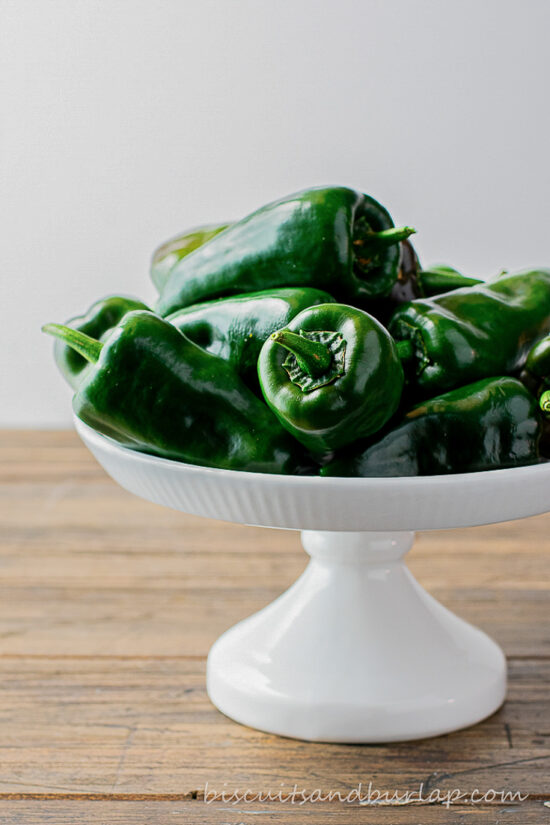 poblano peppers on white stand