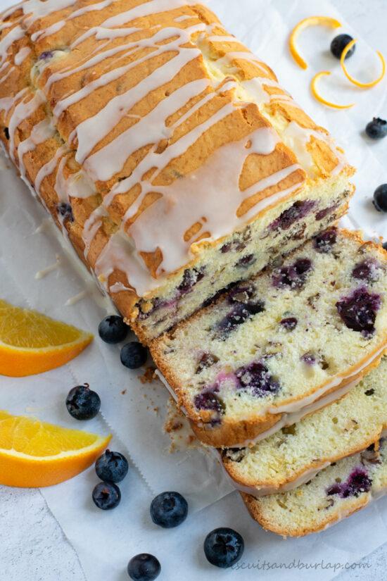 overhead of blueberry orange bread