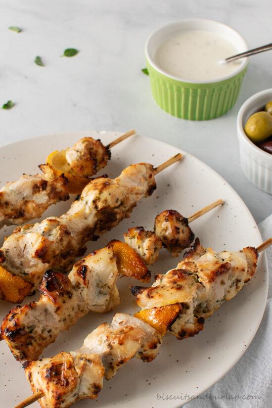 air fryer greek chicken skewers