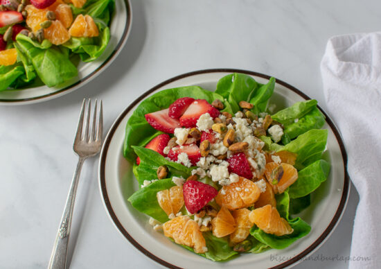 two clementine salads with fork