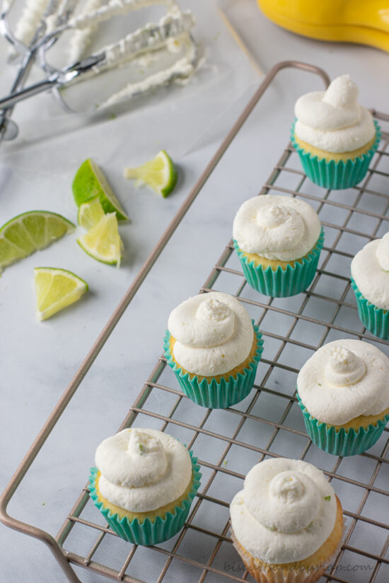cupcakes on rack with limes
