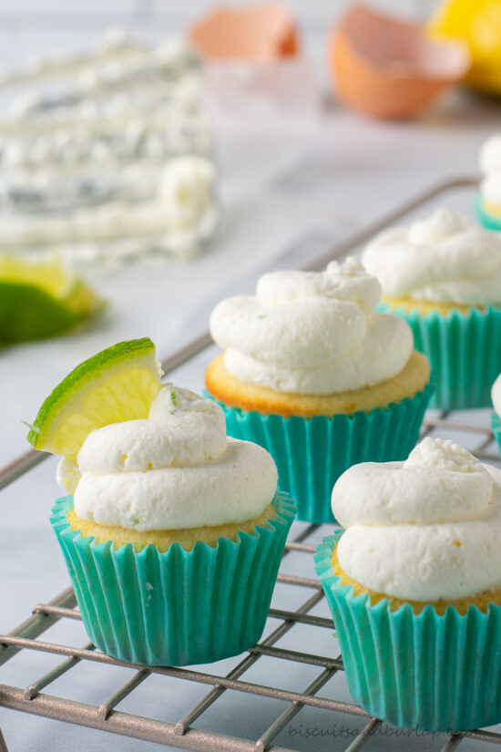 key lime small batch cupcakes on rack