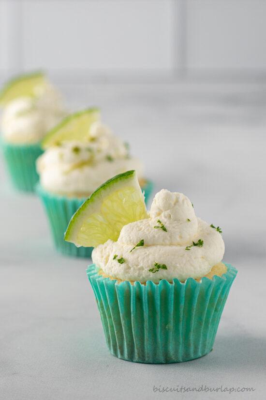 3 mini key lime cupcakes