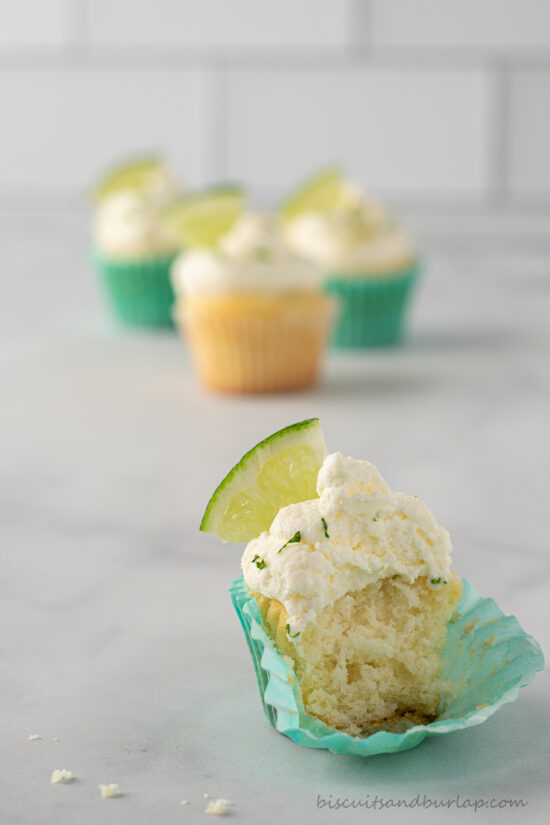 key lime cupcake with bite out