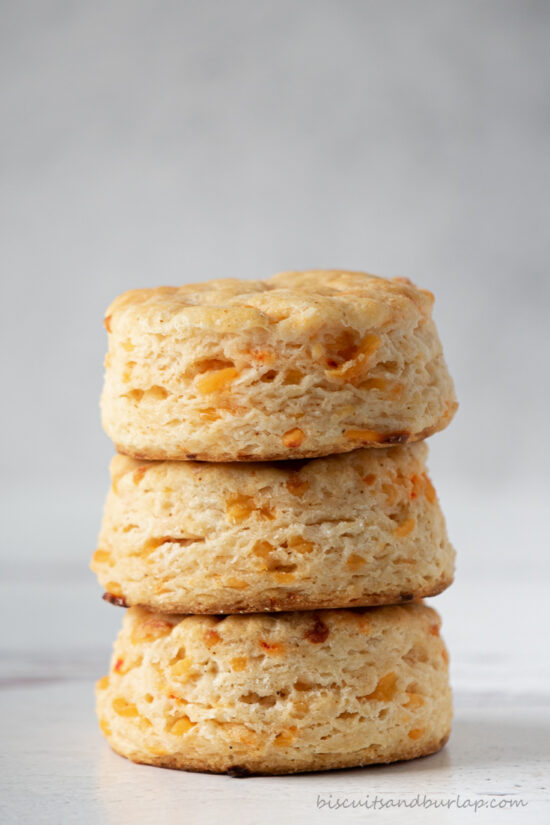 stack of 3 biscuits with pimento cheese