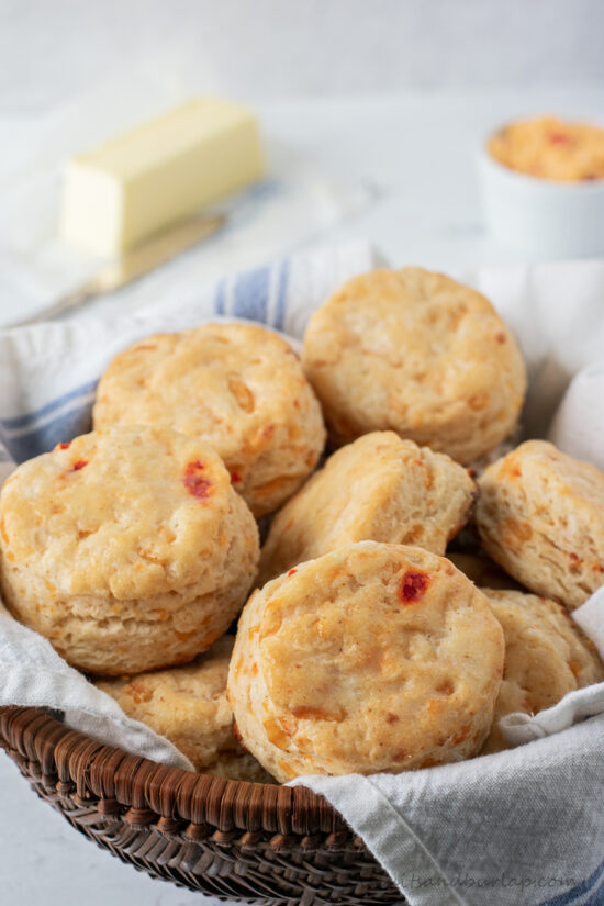 basket of pimento cheese biscuits