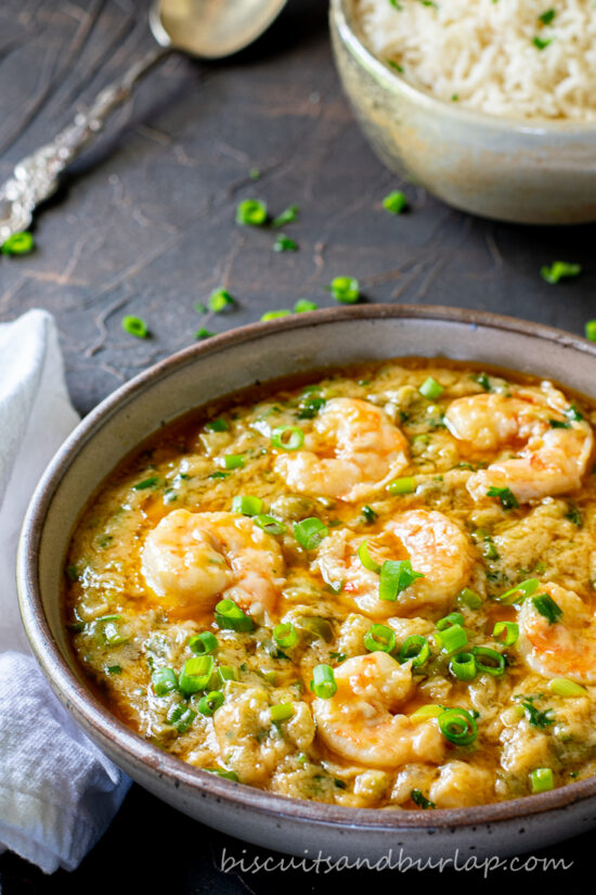 shrimp etouffee with rice in bowl