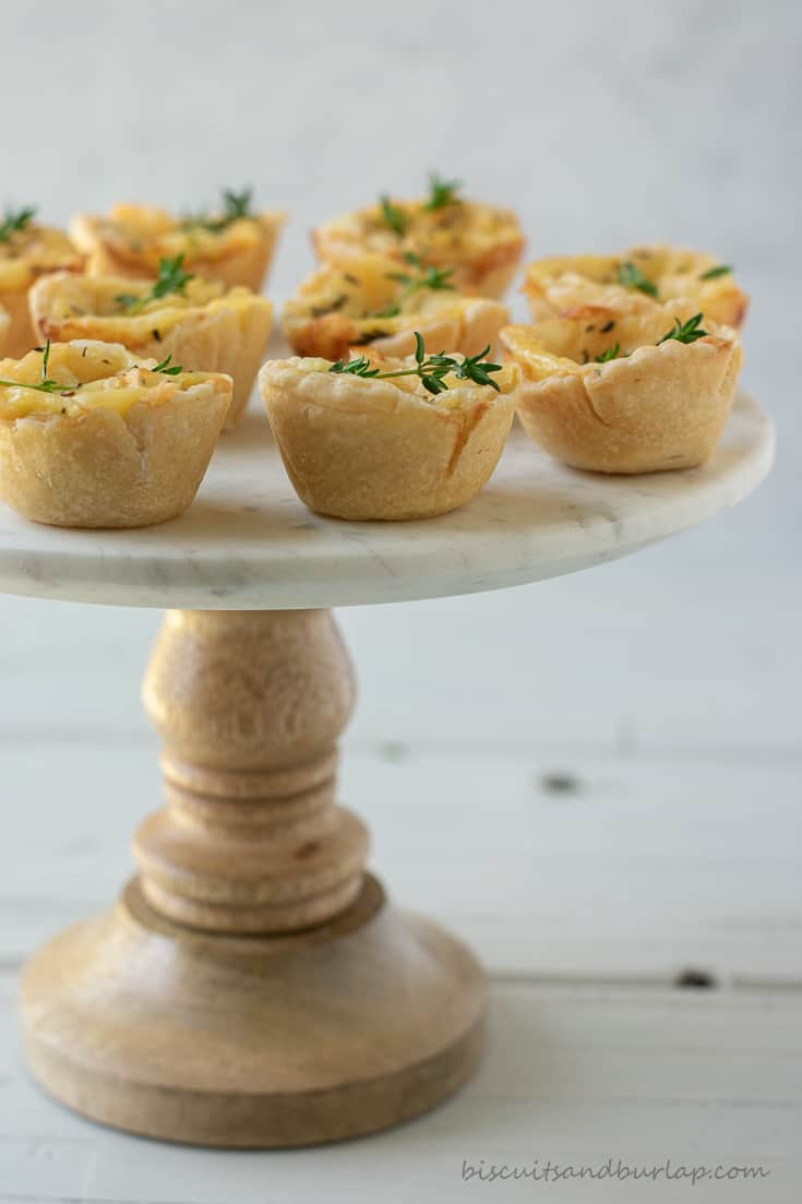 cheese tartlets on stand