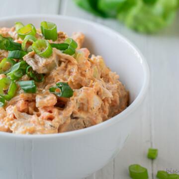 bowl of rotisserie chicken salad