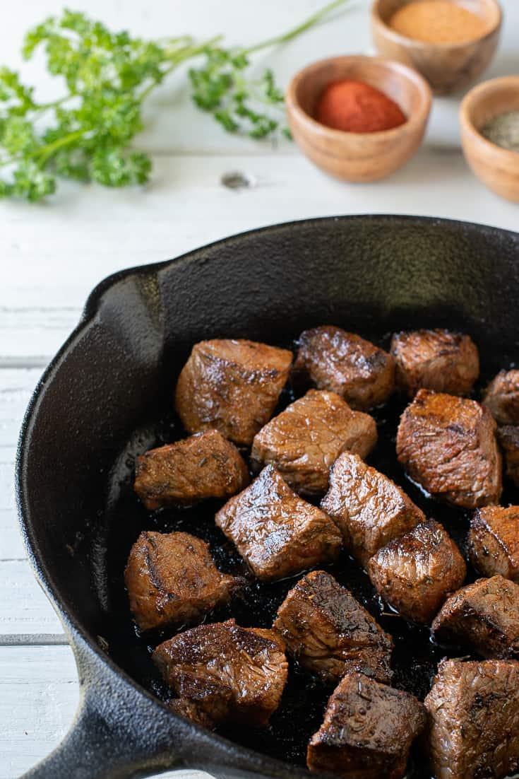 Cajun Steak Bites in iron skillet