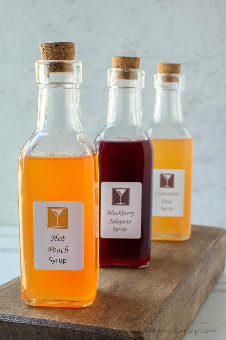 3 bottles of syrups for cocktails