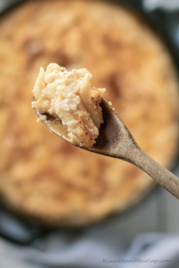 close up of spoonful of smoked mac and cheese