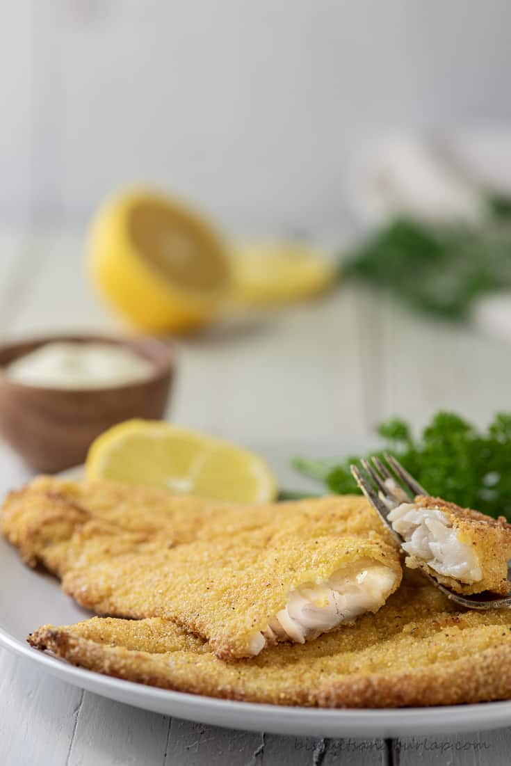 cut filet of air fryer catfish with lemon