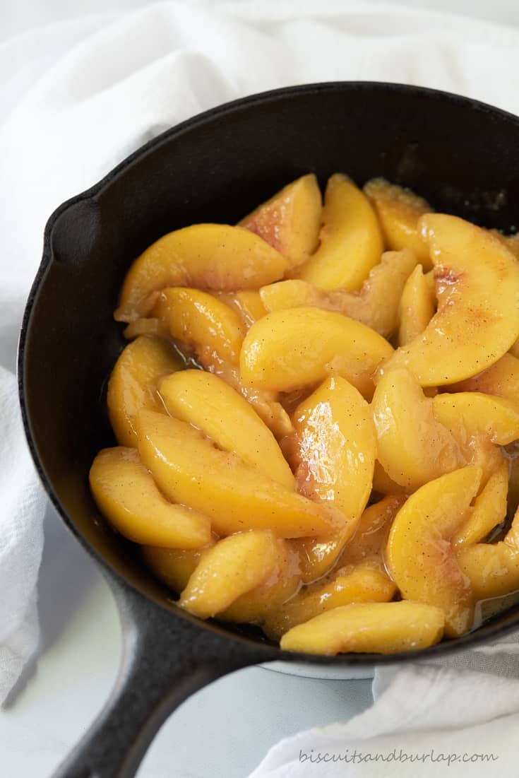 caramelized peaches in skillet