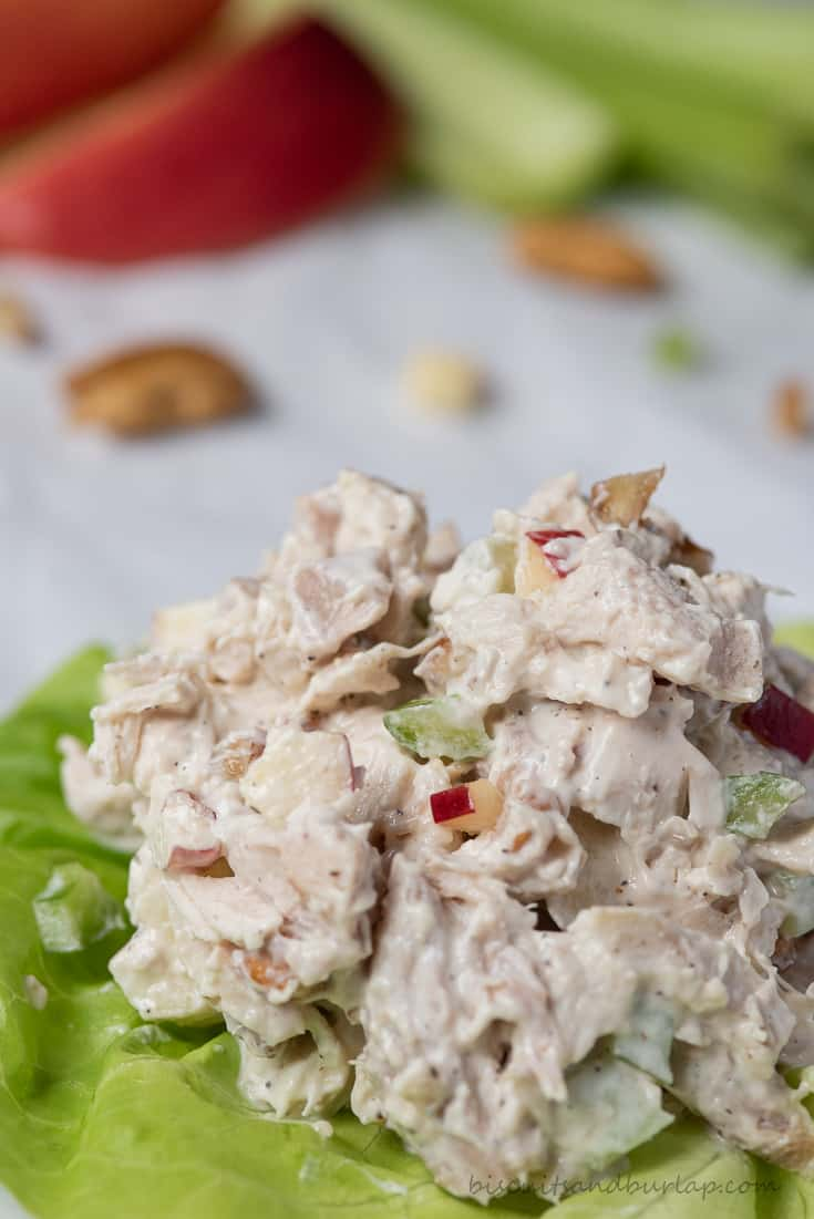 chicken salad with pecans and apples on lettuce