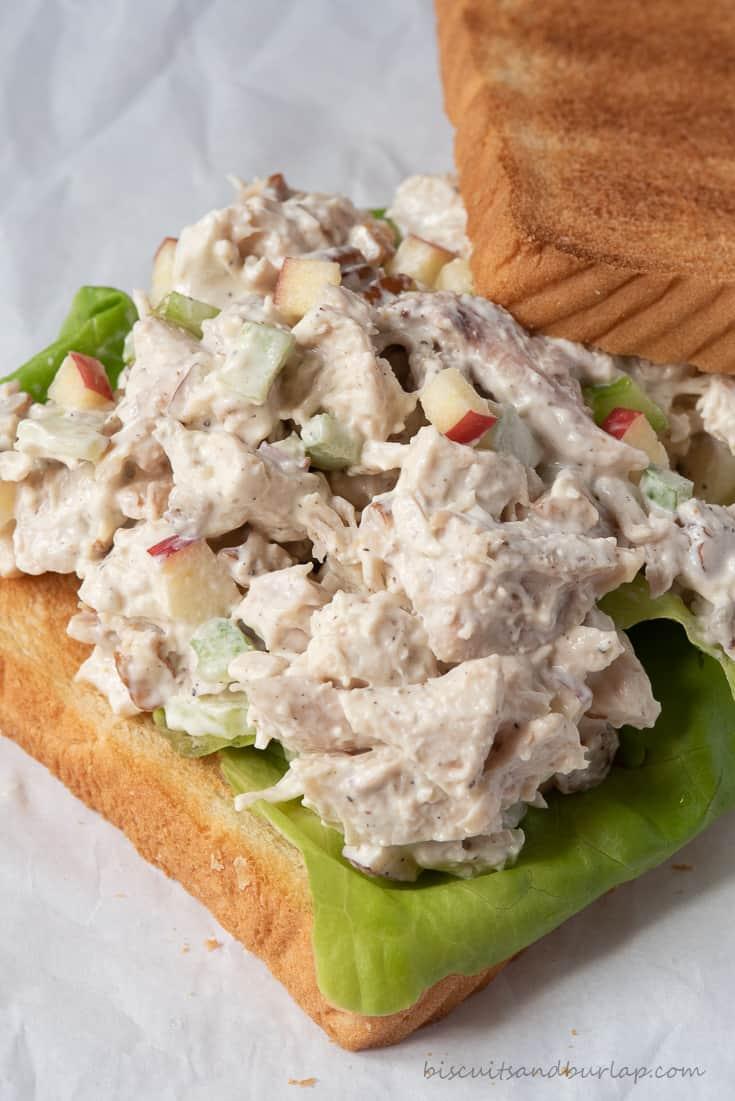 apple pecan chicken salad on toast