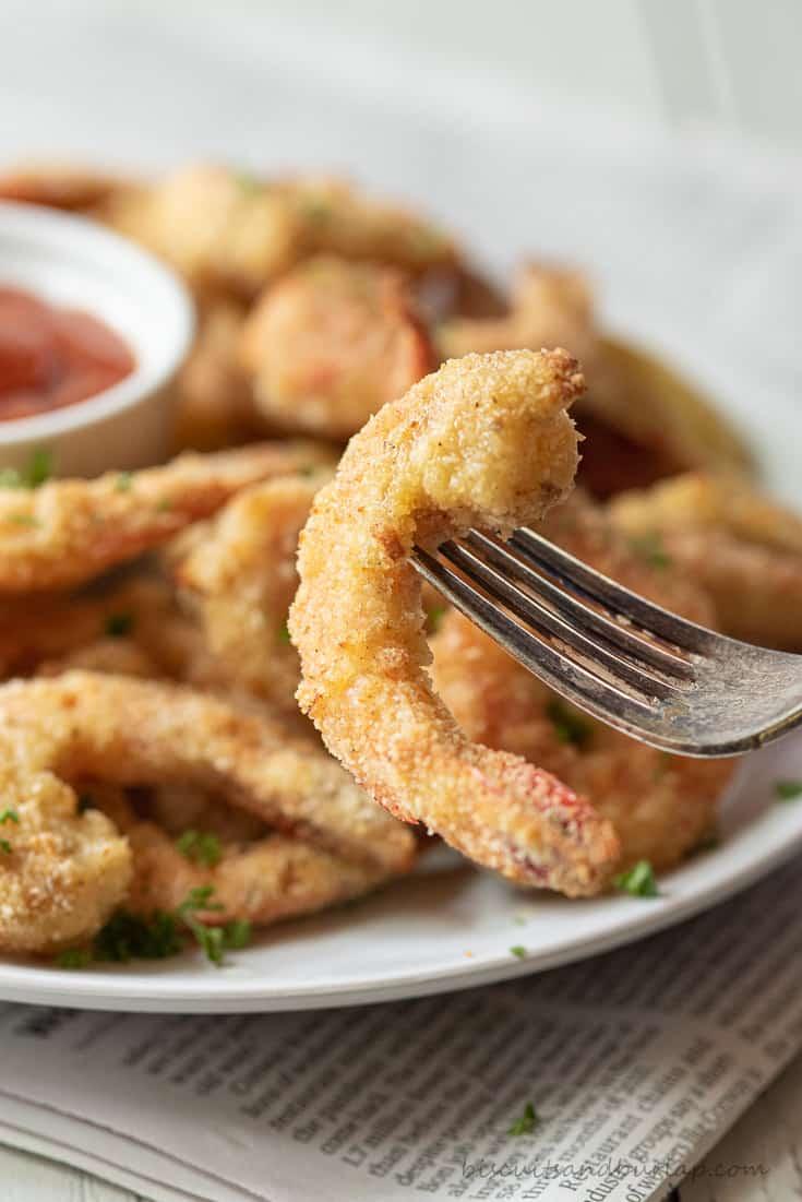 close up of air fryer breaded shrimp on fork